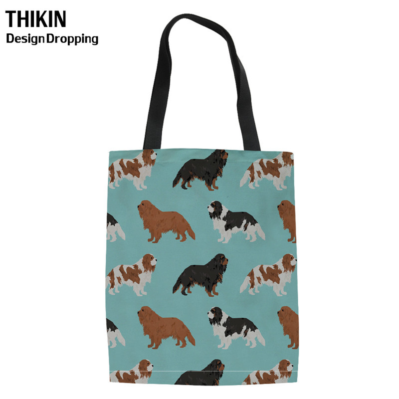 THIKIN Fabric Shopping Bags Cavalier King Charles Spaniel Dog Printing Canvas Tote Women Shoulder Handbag For Recycle Storage