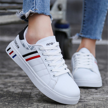 White Sneakers Woman Lace Up Casual Shoes PU Leather men Sneakers for Women Platform Flat 2020 Fashion Female Shoes Men 35-44 new fashion women white shoes flats platform student female korean soft casual rubber lace up pu leather joker superstar ks 508