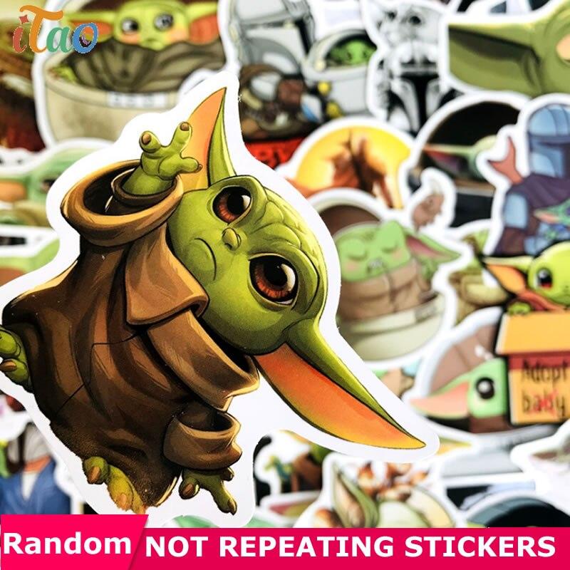 10/20/30/40/50pcs Cartoon Star Wars Baby Yoda Stickers Waterproof PVC Luggage Motorcycle Skateboard Guitar Mandalorian Stickers
