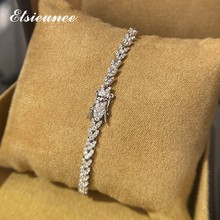 ELSIEUNEE 100% 925 Sterling Silver Leaf Simulated Moissanite Gemstone Wedding Charm Bracelets Bangle Fine Jewelry Drop Shipping