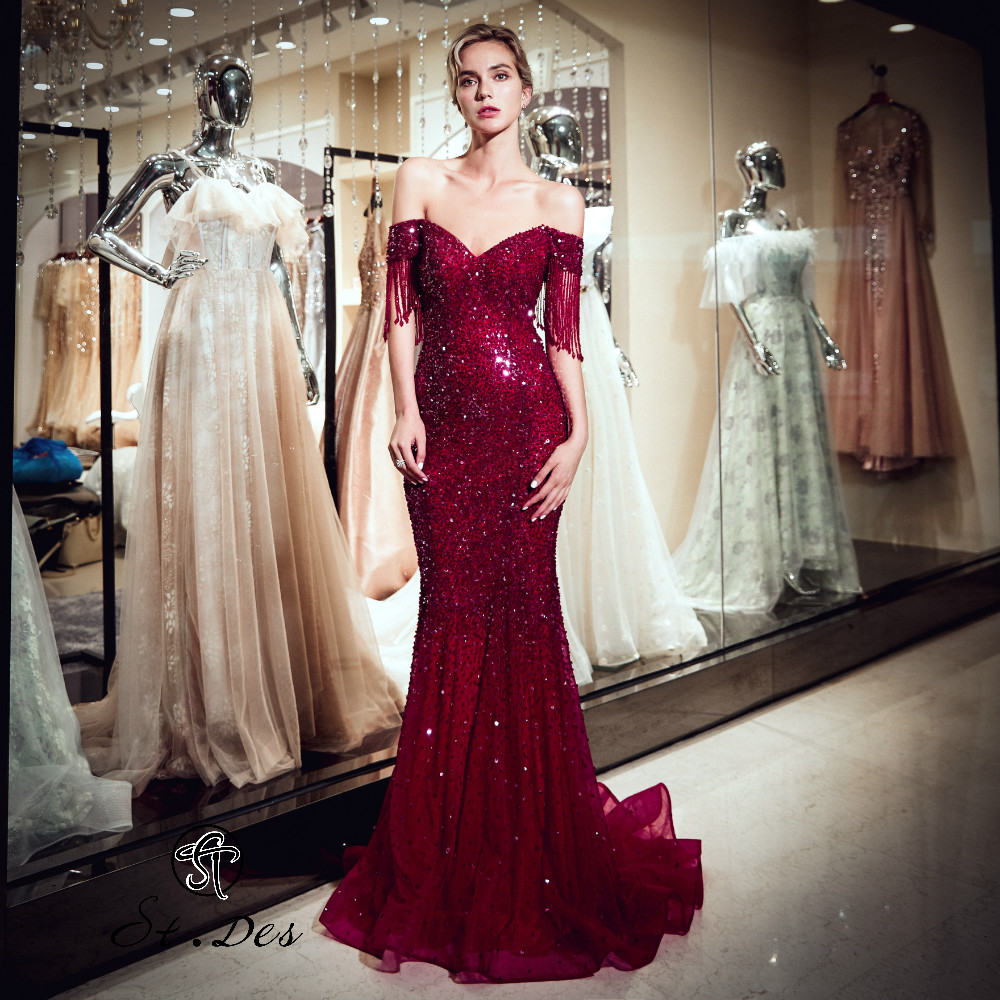 2020 S.T.DES New Arrival Red Champagne Shining Squins Floor Length Sequined Sparkling Sexy Evening Gowns Party Dress