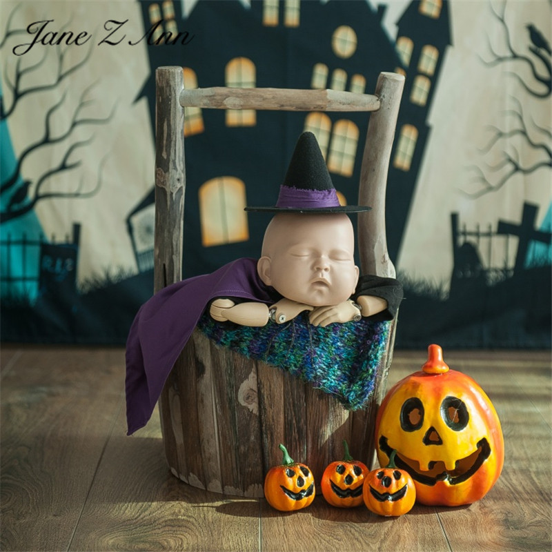Jane Z Ann Newborn  Halloween theme photography Costume Set hat matching prop face pumpkin background cloth 1