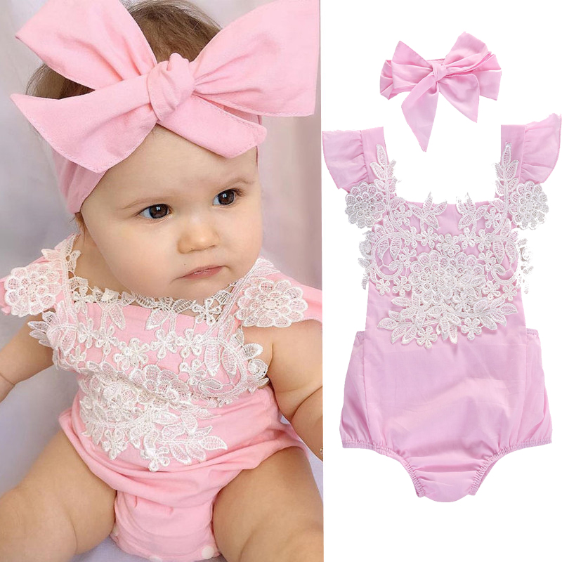 Baby Girls Clothing Lace Flower Baby Rompers + Bow Headband SUits Summer Cute Pink Newborn Infant Outfits Baby Clothes Sets