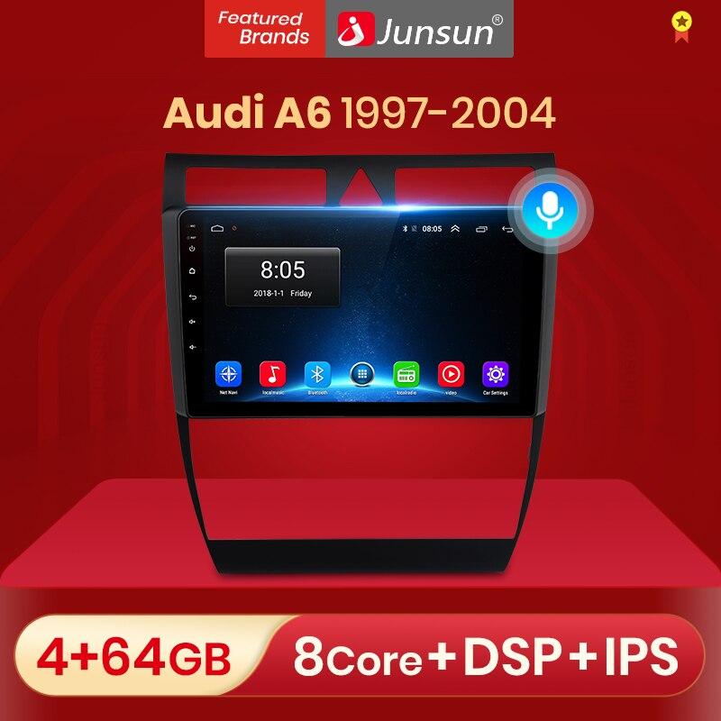 Junsun v1 android 10.0 dsp carplay rádio do carro multimídia player de vídeo estéreo automático gps para audi a6 c5 1997-2004 s6 rs6 2 din dvd