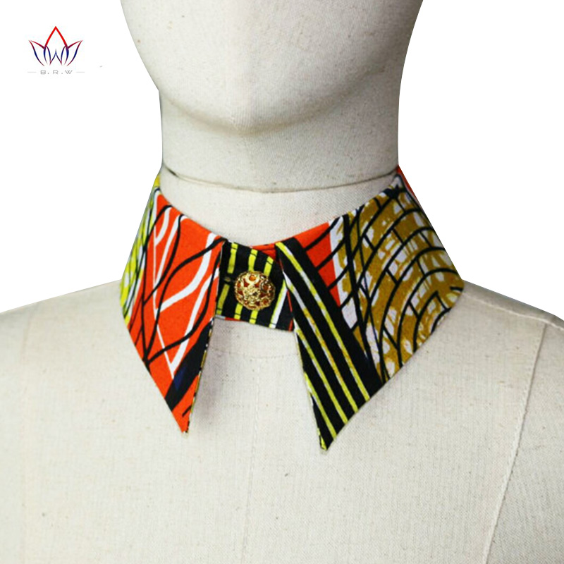 Orange African Print Collar T-shirt Fake Collar For Women 17 Styles Cheap High Quality Styles Women Lapel Fake Collar BRW WYB227