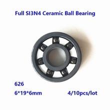 4/10pcs 626 6*19*6mm Full SI3N4 ceramic ball bearing Full Ceramic bearings silicon ceramic deep groove ball bearing 6×19×6mm