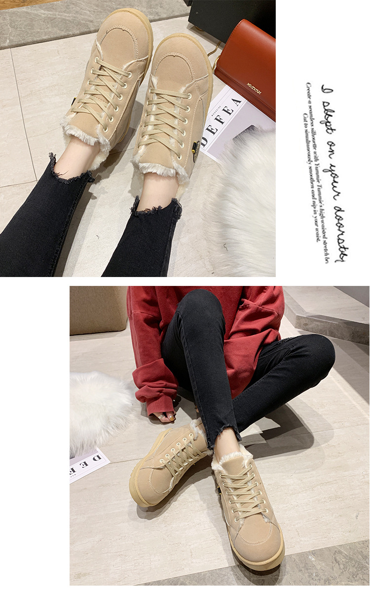 Women's winter sports shoes ladies snow boots casual students warm Martin boots winter plus cotton boots women's cotton shoes 8