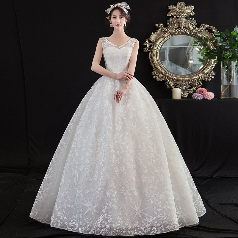 Mrs Win Wedding Dress 2020 New Sleeveless V-neck Embroidery Wedding Gown Floor-length Lace Up Ball Gown Luxury Wedding Dresses