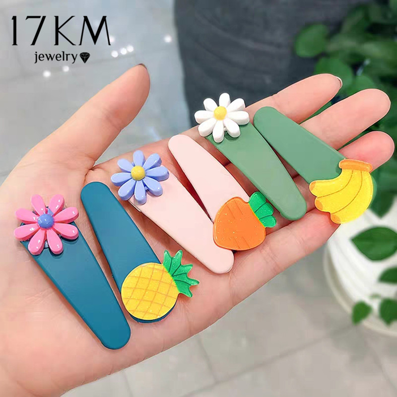 17KM Sweet Girls Hair Clip For Women Lovely Candy Fruit Cartoon Kids Hairpins Headwear Children Accessories Baby Hair Clips New
