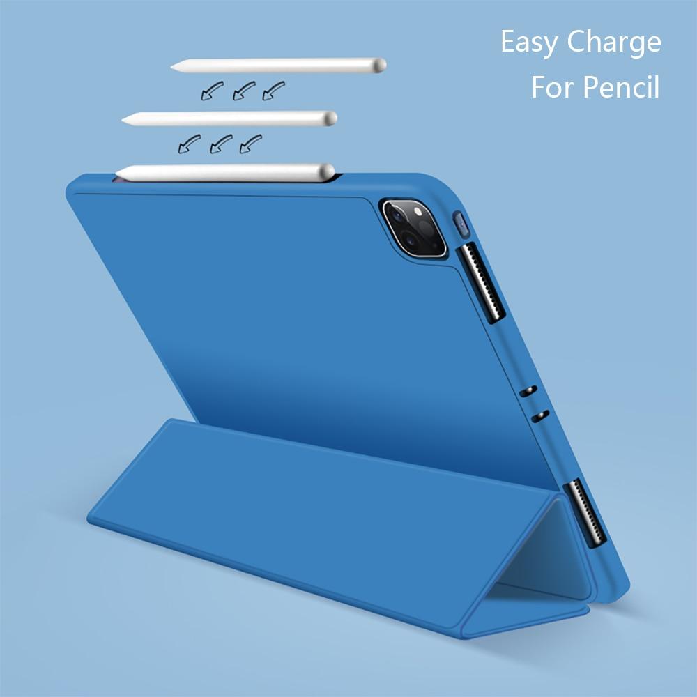 Silicone Capa Pencil-Holder Pro iPad Funda Generation-Multi-Fold PU For with Wake-Face-Id Cover