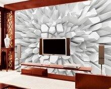 Фотообои на заказ, самоклеящиеся белые объемные фрески любого размера с изображением сияющего камня, HD Водонепроницаемая живопись для гост...