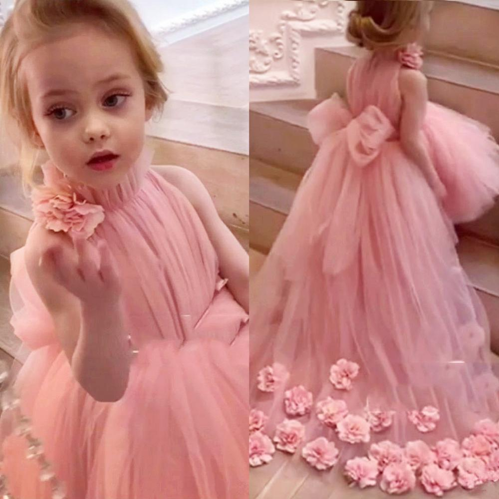 Lovely Kids Hi-Lo Tulle Pink Flower Girl Dresses For Wedding High Neck Sweep Train 3D Floral Applique First Communion Dresses