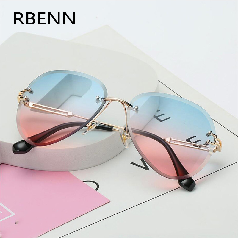 RBENN 2019 New Brand Designer Rimless Pilot Sunglasses Women Men Retro Dimond Cutting Lens Gradient Sun Glasses For Female UV400