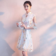 New Womens Cheongsam Girls Summer Mid-long Retro Short-sleeved Small Dresses And Leisure embroidered womens wear 2019