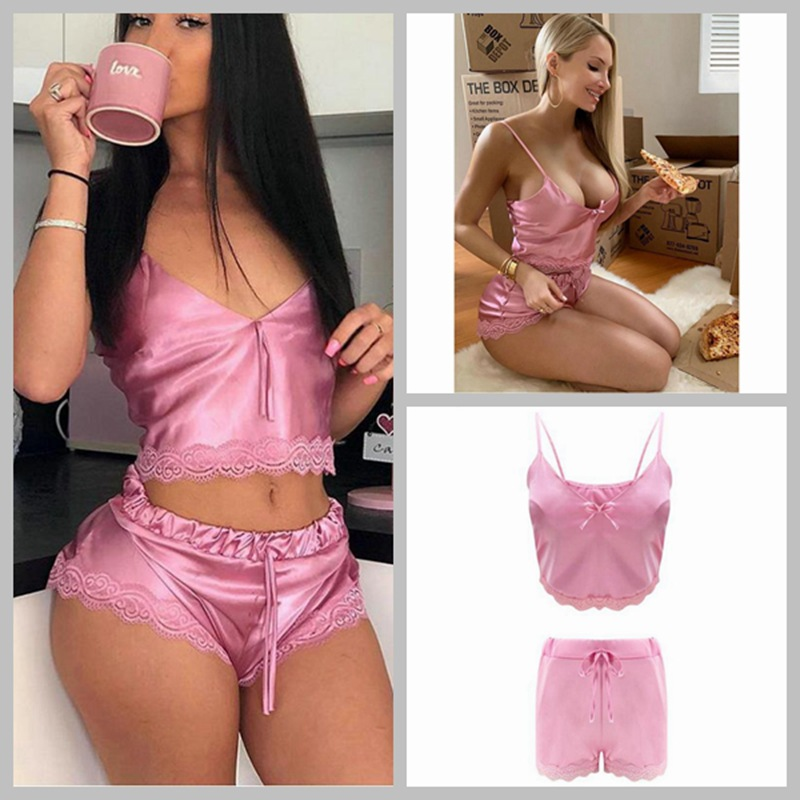 Hot Selling WOMEN'S Dress Europe And America Sweet And Sexy Camisole Set Lace Waist Hugging Two-Piece Set Ba0643