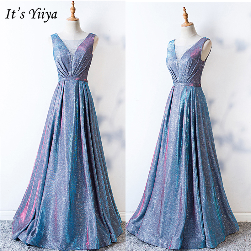 It's Yiiya Evening Dress 2019 Sequins Shinning Sleeveless A-Line Drseses Contrast Color Elegant Floor Length Formal Gowns E1009