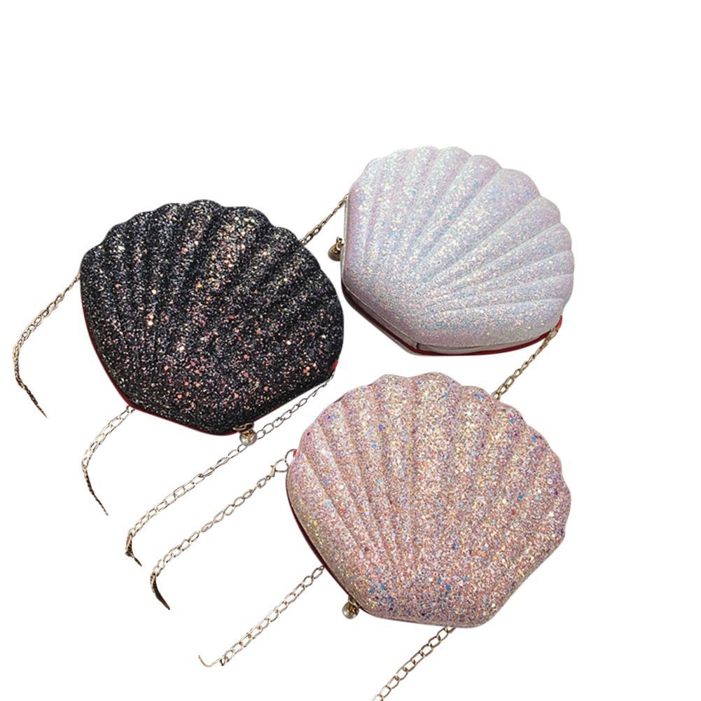 Mounchain Sequins Shell Bag Shoulder Pearl Chain Handbag Crossbody Bag Women Ladies Conch Shell Small Bag On For Shopping Hiking