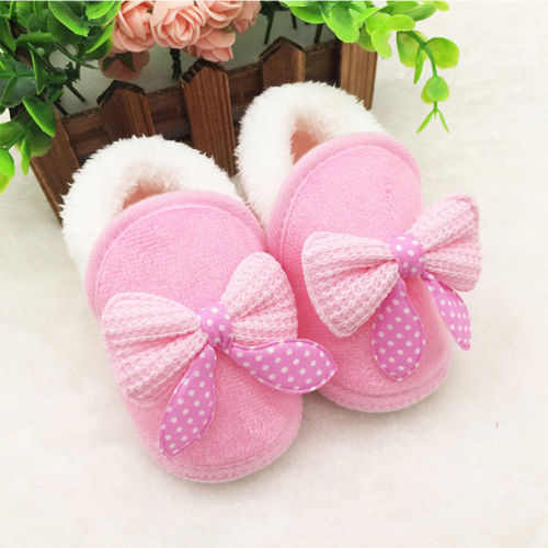 Cute 0-18M Baby Girls Bow Soft Crib Sole Boots Newborn Prewalker Warm Shoes For Infant Pink Red