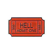 HELL ADMIT ONE 666 Enamel Brooch Hell Ticket Pins Denim clothes bag buckle Button Badge Gothic Punk Jewelry Gift for Friends