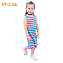 VFOCHI 2019 New Girl Summer Dresses Striped Print Casual Girls Clothes Sheath Kids For 4-12Y Teenager
