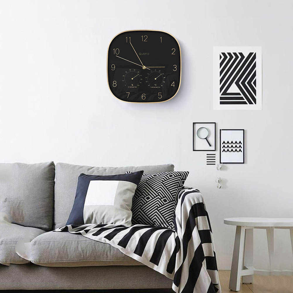 12 inch 31cm wall clock home creative metal case clock black european style wall clock with Thermometer hygrometer home decor