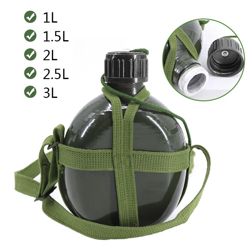 1L 2L 3L Military Canteen Water Bottle Aluminum with Shoulder Strap Green Army Flask Nature Hike Camping Outdoor Sports kettle Sports Bottles     - title=