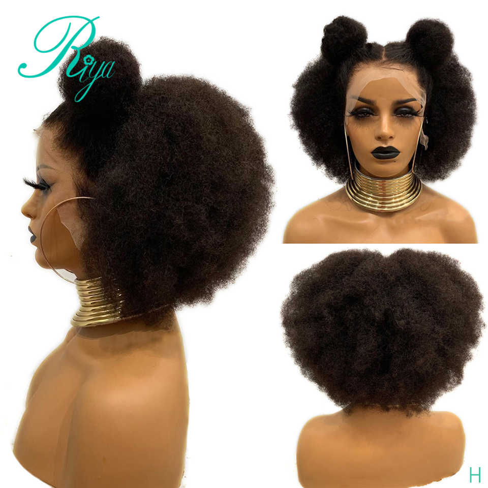 13X6 Pixie Invisible 150% Short Cut Bob Blunt Afro kinky Curly Lace Front Human Hair Wigs With Baby Hair Preplucked H8-16 Remy