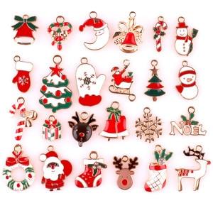 24x Mixed Metal Enamel Charms Christmas Pendants Ornaments Beads for Bracelet Earrings Jewelry Making Xmas Tree Decor Kids Gift