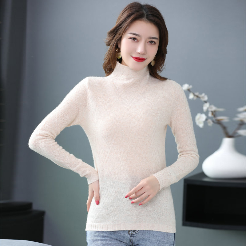 Minimalist Woman Turtleneck Pullover Sweater Sheep Wool Pure Colour High Neck Slim Fit Warm Soft Knit Tops Womens Basic Knitwear