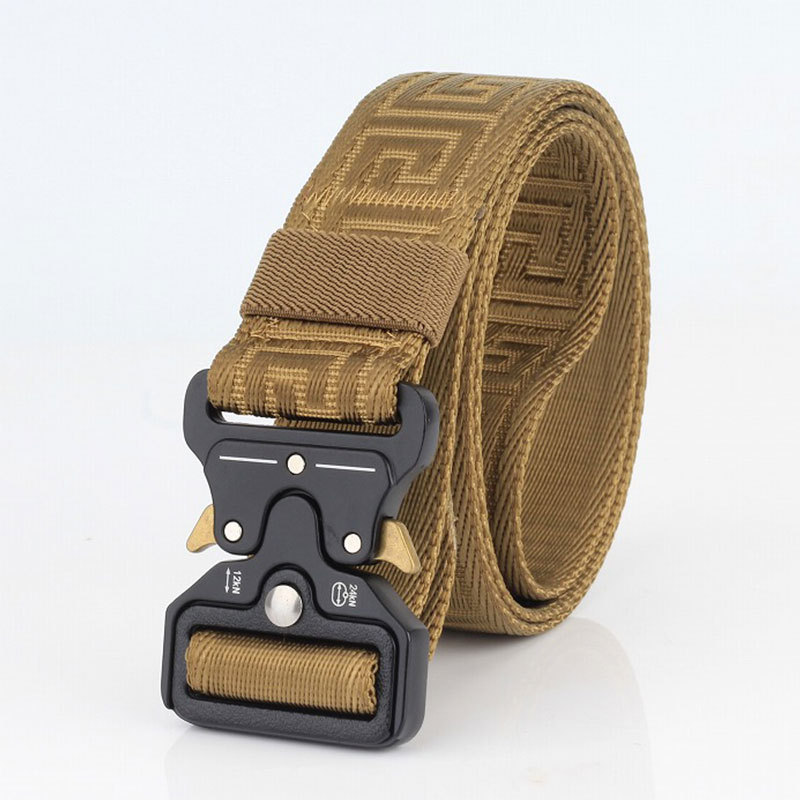 Casual Men's Nylon Belt Quick Release Metal Buckle Canvas Cowboy Pants Belts Military Army Tactical Training Belts Male Strap