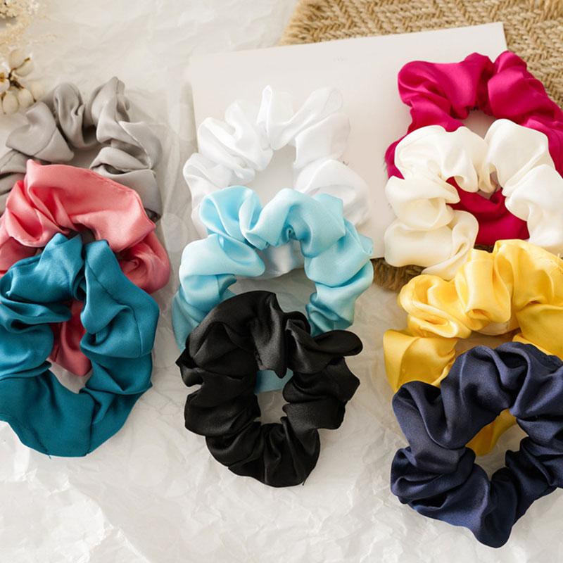 1pcs Women Faux Silk Solid Satin Scrunchies Lady Simple Elastic Headbands Hairbands Girls Hair Tie Hair Rope Hair Accessories