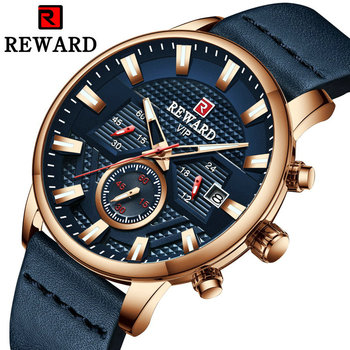 REWARD Sports Quartz Watch Men Top Brand Luxury Chronograph Male Clock Business Casual Wrist Watches Waterproof Leather Strap guanqin brand luxury sports men wristwatches male leather strap business quartz watch casual clock hour date week montre homme