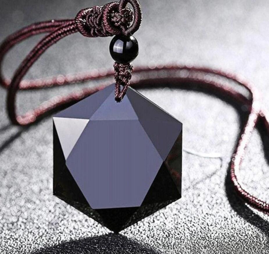 Black Obsidian Natural Stone Pendant Necklaces for Women Men Cubic Hexagram Sweater Necklace Amulets Talismans Fashion Jewelry