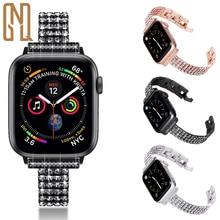 For Apple watch watch6/5/4/3 fashion diamond encrusted stainless steel four row diamond bracelet