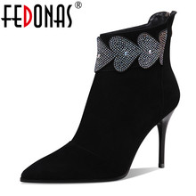 FEDONAS Genuine Leather Woman Autumn Winter Ankle Boots Elegant High Heels Pointed Toe Chelsea Boots Prom Dancing Shoes Woman