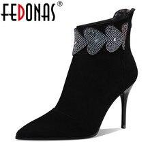 FEDONAS jakości mieszane kolory prawdziwej skóry kobiety kostki buty klasyczne okrągłe Toe Chelsea buty wysokość buty kobieta krótkie buty