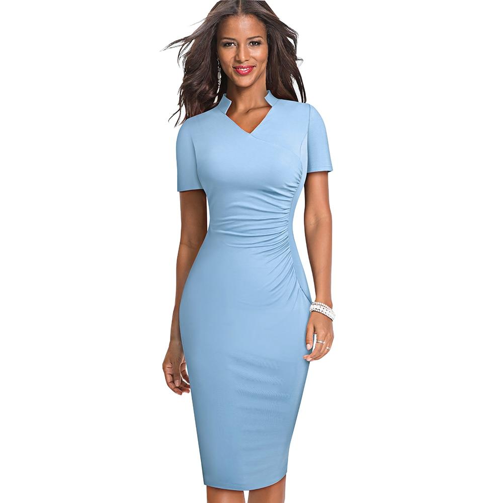 Nice-forever Vintage Elegant Solid With V Neckline Vestidos Business Party Bodycon Slim Women Work Dress B579
