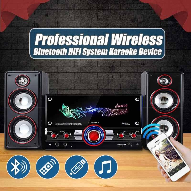 Leory Profesional 2.1 Bluetooth Multimedia Speaker Subwoofer Audio Kayu 60W Loudspeaker dengan Dual MIC Wireless Remote Control