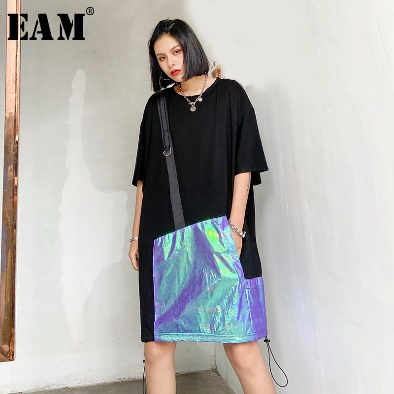 [EAM] Women Black Drawstring Split Joint Big Size Dress New Round Neck Half Sleeve Loose Fit Fashion Spring Summer 2020 1T833