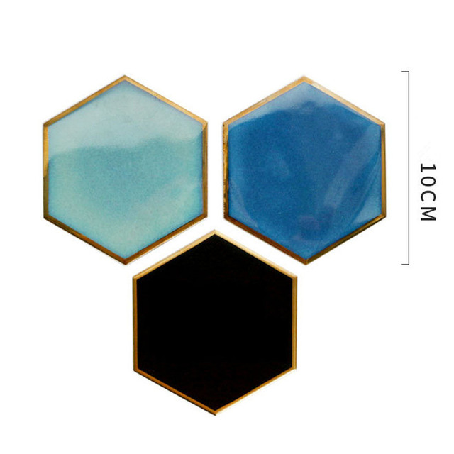 Nordic Hexagon Gold-plated Ceramic Placemat