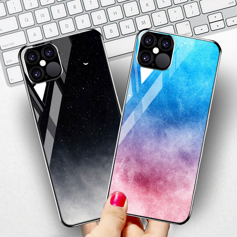 Luxury Star Space Tempered Glass Case For iPhone 12