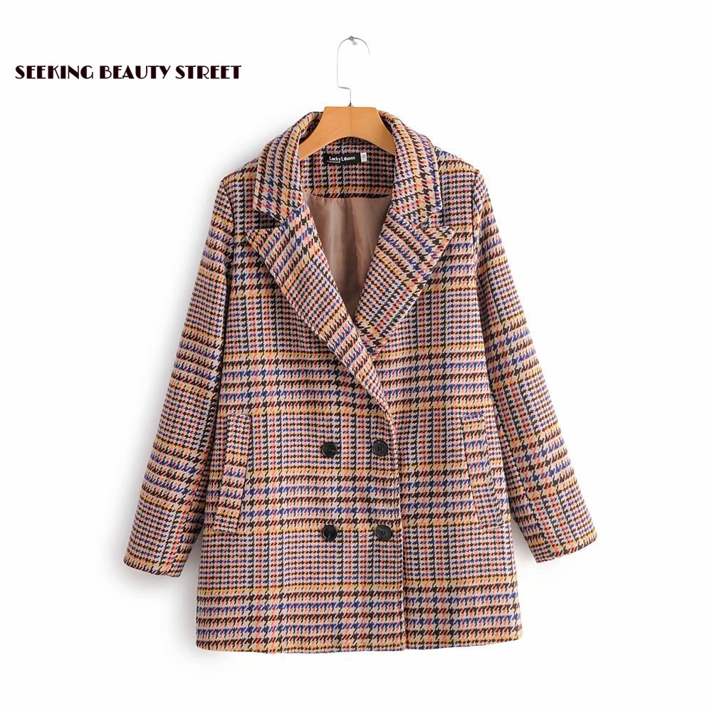 New winter tweed coat Plaid Wool Suit windbreaker 2019 coat women  womens blazer casual long
