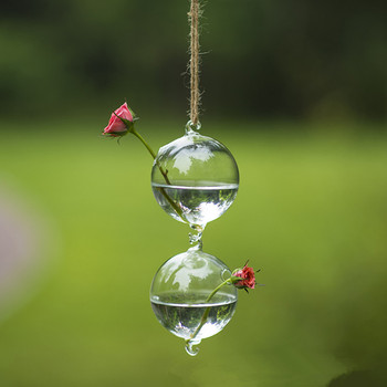 Diameter=8cm Wedding Decoration Hanging Glass Terrarium Two Hanging Hock Glass Vase Friend Birthday Gift Wedding Favor Gift Wate image