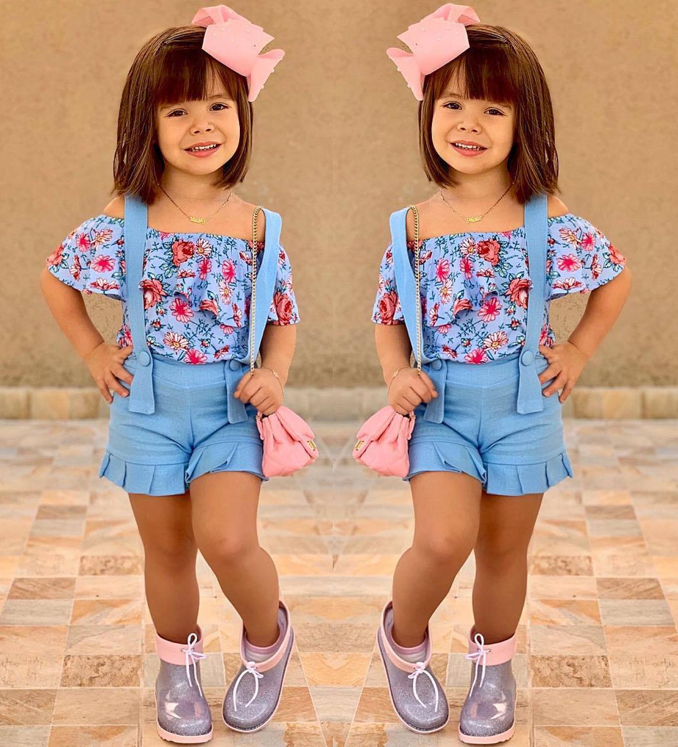 Girls Clothes Suits Summer Style Children Floral Tops + Overalls Suit Clothes Sets For 1-6T Kids Ruffles Sleeve And Trousers