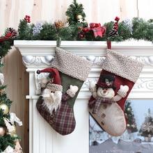 Рождественские украшения с пушистыми краями Снеговик Санта носки в клетку Висячие Рождественский подарок сумки