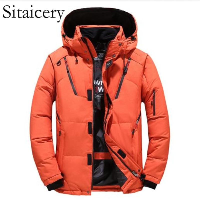 Sitaicery Man Jacket White Duck Down Zipper Coat Winter Thick Waterproof Hooded Men's Down Jacket Military Parka Men Wholesale