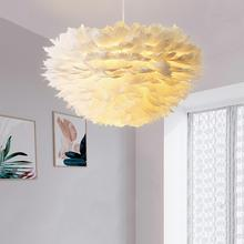 Nordic Creative LED Feather Pendant lights Bedroom lamp Personality Warm Romantic INS Wedding Room Deocor Lighting