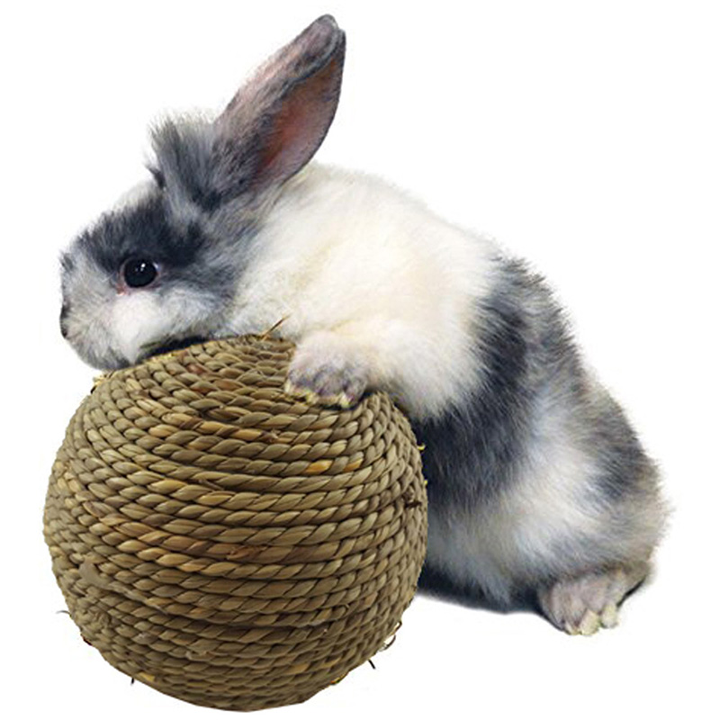 6cm/10cm Pet Chew Toy Natural Grass Ball With Bell For Rabbit Hamster Guinea Pig For Tooth Cleaning For Small Animal Pets Toys