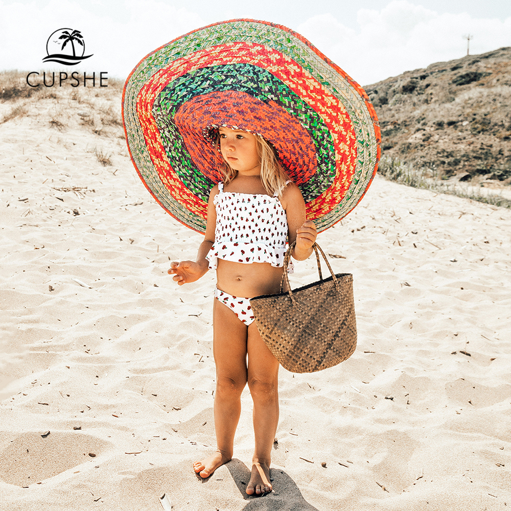 CUPSHE Cherry Smocked Bikini Sets For Toddler Girls 2020 Tank Top Toddler Kids Children Swimsuits Swim Bathing Suits 2-12 Years