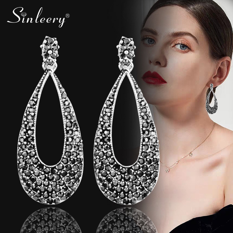 SINLEERY Bohemia Full Black Cubic Zirconia Hollow Teardrop Drop Earrings Women Antique Silver Color Vintage Jewelry ES121 SSH